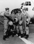 The Four Horsemen were the world's only four engine per aircraft demonstration team. Flying four C-130As in close formation, the team would perform a number of manuevers over a twenty-three minute airshow. The Horsemen were (from left) team lead Capt. Gene Chaney, Capt. Bill Hatfield, Capt. James Akin, and Capt. David Moore. They flew with a rotating cast of squadron copilots who were all aircraft commanders and instructor or standardization/evaluation pilots. For demos, the pilots also flew with a flight engineer and a scanner, normally an aircraft mechanic.