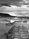 "Lockheed constructed a makeshift base at Groom Lake in Nevada. Initially known as Site II or ""The Ranch,"" the site consisted of little more than a few shelters, workshops and trailer homes. A 5,000-foot runway was constructed and was serviceable by July 1955. The Ranch received its first U-2 delivery on 24 July 1955 from Burbank on a C-124 Globemaster II cargo plane. The first U-2 lifted off from Groom on 4 August 1955."