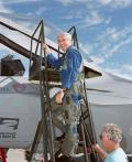 29 September 1990: Lockheed test pilot Dave Ferguson makes the first flight of the YF-22 when he ferries the aircraft from Palmdale to the Air Force Flight Test Center at Edwards AFB, California.