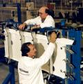 2 November 1995: Assembly of the first flyable F-22 begins at Lockheed Martin Aeronautical Systems in Marietta as workers load parts for the nose landing gear wheel well into an assembly fixture.