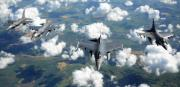 F-16 Formation Over Europe