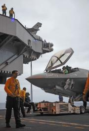 F-35C Moving Into Hangar Bay