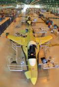 Designed for a  1.5-aircraft-per-month production capability with a single shift, the  T-50 assembly process can produce up to 2.5 aircraft per month by simply  adding another shift.