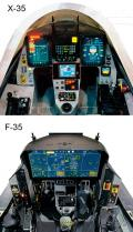 The X-35 had a head-up display, or HUD, and two six- by eight-inch color displays from a C-130 for navigation, controls, and caution displays. The F-35 cockpit features a large eight- by twenty-inch multifunction color touch-screen display that can be customized and subdivided into many different-sized screens. A virtual HUD is projected onto the visor of the helmet-mounted display, or HMD, which performs other functions as well.