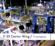 <p>A time lapse video of the F-35 Center Wing Assembly production line in Marietta, Georgia. The high-tech production line uses orange Automated Guided Vehicles to move assemblies throughout the factory. The center wing assembly is the backbone of the F-35 — wings and fuselages are attached at the final assembly facility in Fort Worth, Texas.</p>