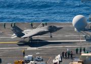<p>US Navy test pilot Cmdr. Tony Wilson made the first arrested landing of the F-35C Lightning II on an aircraft carrier on 3 November 2014. Wilson landed F-35C test aircraft CF-03 at 12:18 p.m. local time aboard the USS Nimitz (CVN-68) underway at sea in the Pacific Ocean. He caught the number-three arresting wire. The arrested landing is part of initial at-sea Developmental Testing I (DT-1) for the F-35C, which expected to last two weeks. During DT-1, the F-35 Lightning II Integrated Test Force at NAS Patuxent River, Maryland, has scheduled test pilots flying test aircraft CF-3 and CF-5 to perform a variety of operational maneuvers, including catapult takeoffs.DT-1 will also include general maintenance and fit tests for the aircraft and support equipment, as well as simulated maintenance operations. </p>