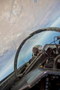 Backseat view from an F-16 during a photo chase mission at the Air Force Test Center at Edwards AFB, California.