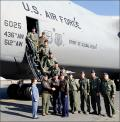 A flight crew consisting of Team Dover members from both the active duty  436th Airlift Wing and Air Force Reserve Command's 512th Airlift Wing  flew the aircraft from Lockheed Martin in Marietta, Georgia, to Dover.